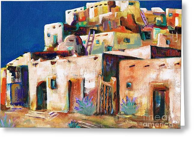 Geometric Art Greeting Cards - Gateway Into  The  Pueblo Greeting Card by Frances Marino