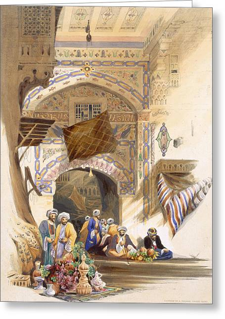 Prints Drawings Greeting Cards - Gateway Of A Bazaar, Grand Cairo, Pub Greeting Card by A. Margaretta Burr
