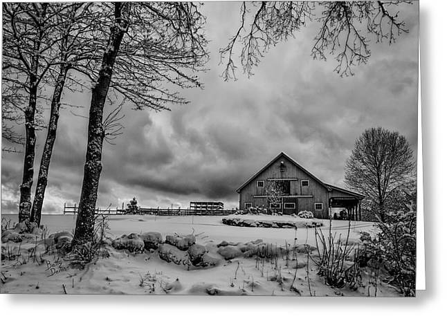 Winter Storm Greeting Cards - Gateway Stables Greeting Card by Betty Denise
