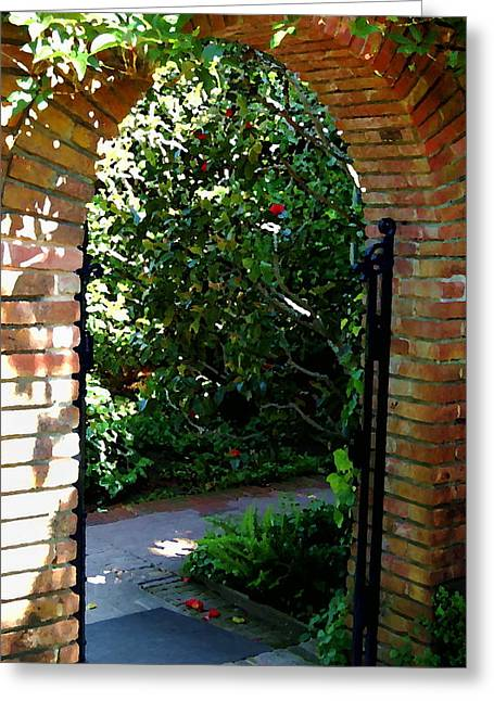 Painted Garden Gate Greeting Cards - Gateway Greeting Card by Tamyra Crossley