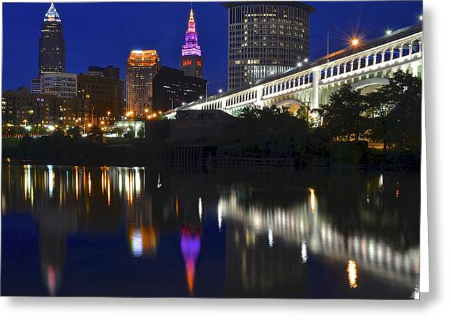 Terrific Greeting Cards - Gateway to Cleveland Greeting Card by Frozen in Time Fine Art Photography
