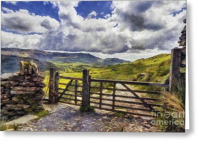 Field. Cloud Digital Art Greeting Cards - Gateway To Freedom Greeting Card by Ian Mitchell