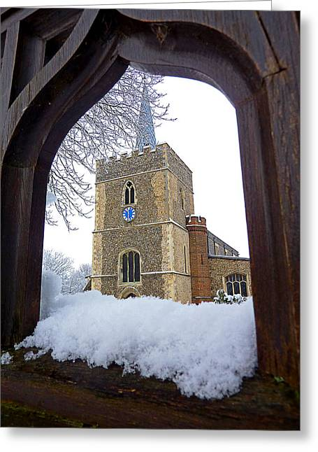 Gateway Church Greeting Cards - Gateway To Heaven - Church Viewed Through The Gate Greeting Card by Gill Billington