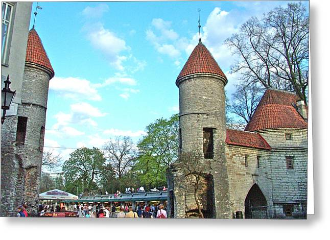 Tallinn Digital Greeting Cards - Gateway to Old Town Tallinn-Estonia Greeting Card by Ruth Hager