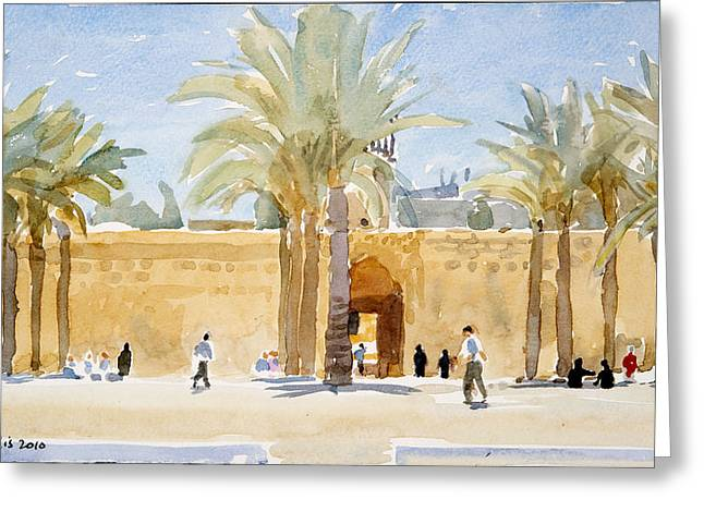 Gateway Greeting Cards - Gateway To The Mosque, 2010 Wc On Paper Greeting Card by Lucy Willis