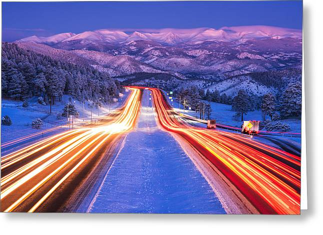 Winter Scene Photographs Greeting Cards - Gateway to the Rockies Greeting Card by Darren  White