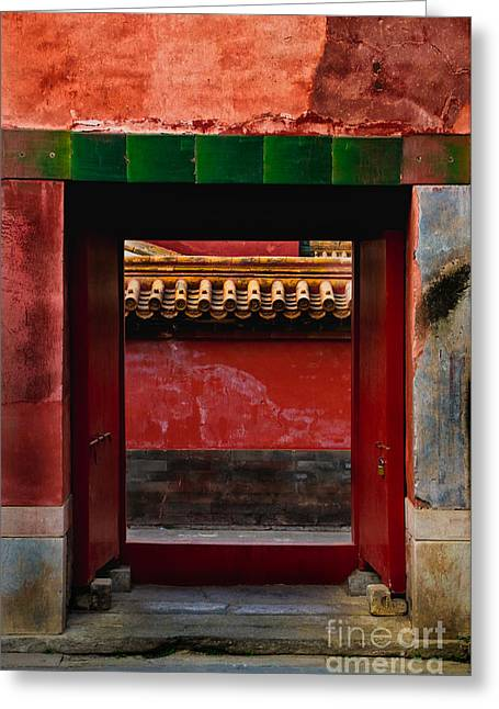 Old Beijing Greeting Cards - Gateway Greeting Card by Venetta Archer