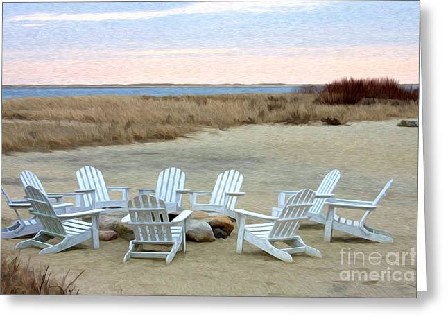 Chatham Greeting Cards - Gather Around the Fire Pit Greeting Card by Jayne Carney