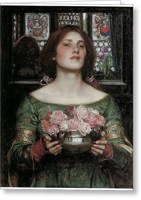 Women With Roses Greeting Cards - Gather Ye Rosebuds While Ye May Greeting Card by J W Waterhouse