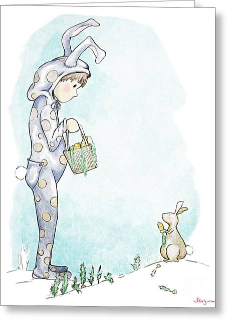 Pajamas Greeting Cards - Gathering Carrots Greeting Card by Steel Goddess