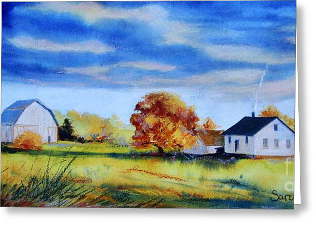 Indiana Autumn Greeting Cards - Gathering Clouds Greeting Card by Sarah Luginbill