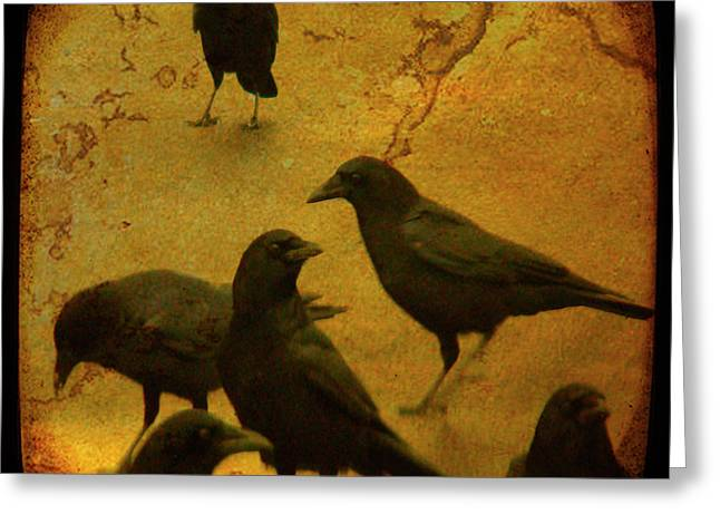 Corvus Greeting Cards - Gathering Greeting Card by Gothicolors Donna Snyder