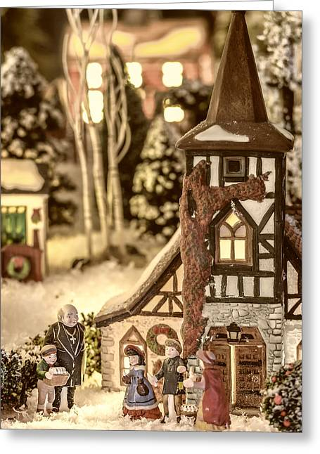 Christmas Village Greeting Cards - Gathering in the Churchyard Greeting Card by Caitlyn  Grasso