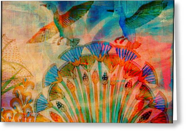 Gathering Mixed Media Greeting Cards - Gathering Of Birds Greeting Card by Wendie Busig-Kohn