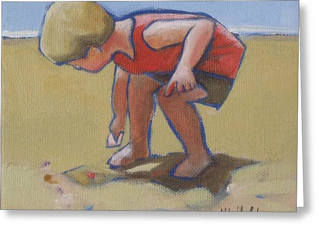 Kids Swimming At Beach Greeting Cards - Gathering Shells Greeting Card by Mary Hubley