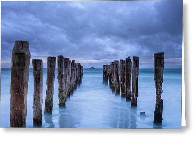 Ominous Greeting Cards - Gathering Storm Clouds Over Old Jetty Greeting Card by Colin and Linda McKie