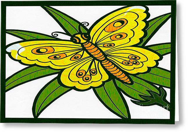 Gathering Mixed Media Greeting Cards - Gathering Sunshine Abstract Butterfly Art by Omaste Witkowski  Greeting Card by Omaste Witkowski