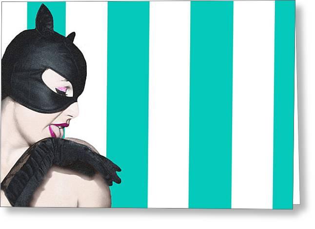 Sexy Catwoman Greeting Card by Malu  Matteo