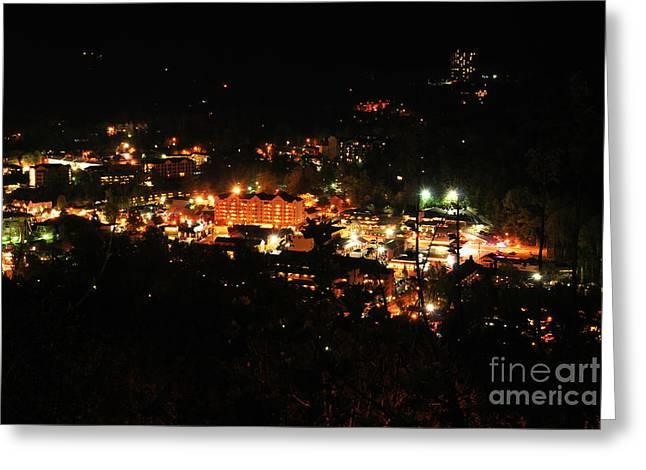 Gatlinburg Tennessee Photographs Greeting Cards - Gatlinburg at Night Greeting Card by Nancy Mueller