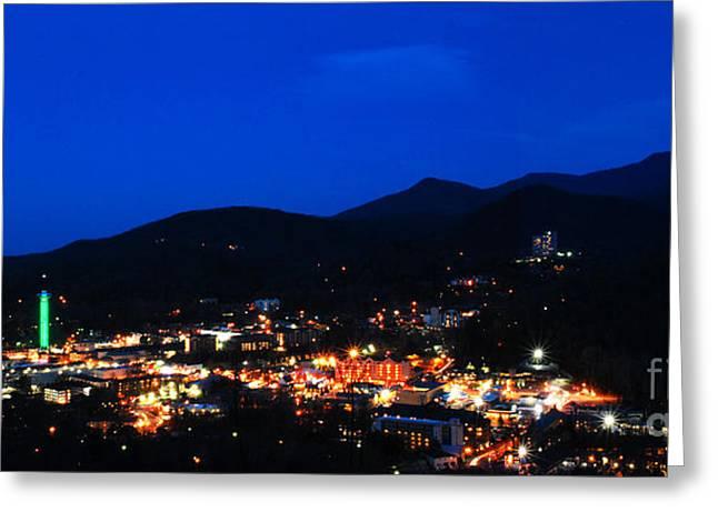 Gatlinburg Skyline at Night Greeting Card by Nancy Mueller