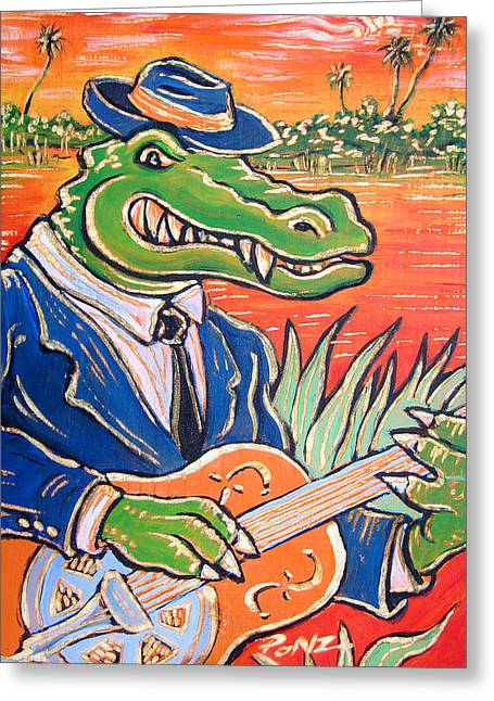 Ponz Greeting Cards - Gator Boogie Greeting Card by Robert Ponzio