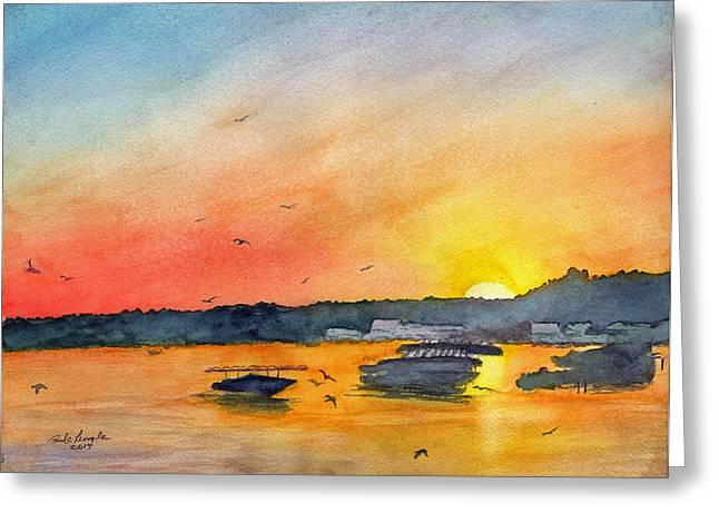 Florida Gators Paintings Greeting Cards - Gator Joes March Sunset Greeting Card by Paul E Temple