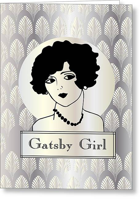 Jordan Greeting Cards - GATSBY GIRL in silver and pearl Greeting Card by Cecely Bloom