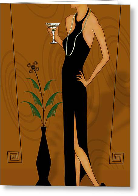 Search Drawings Greeting Cards - Gatsby Girl Greeting Card by Troy Brown