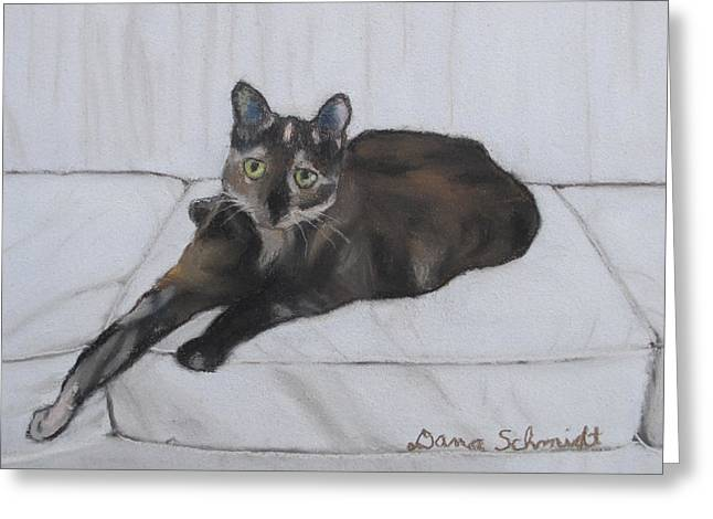 Lounge Pastels Greeting Cards - Gatsby the Cat Greeting Card by Dana Schmidt