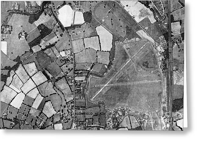 Crawley Greeting Cards - Gatwick, Historical Aerial Photograph Greeting Card by Getmapping Plc