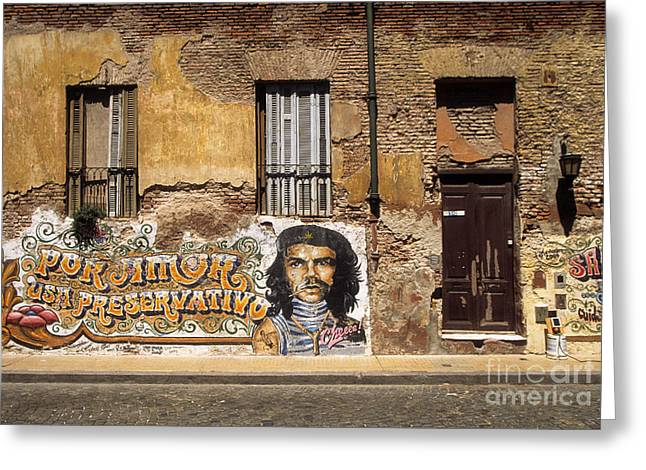 Buenos Aires Art Greeting Cards - Gaucho Che Promotes Contraception Greeting Card by James Brunker