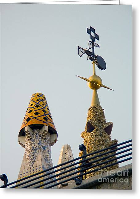 Wind Vane Greeting Cards - Gaudi Building Detail Greeting Card by Tim Holt