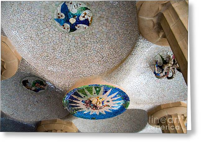 Tiled Ceiling Greeting Cards - Gaudi Detail Greeting Card by Tim Holt
