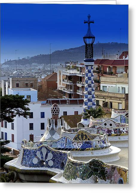 Modern Photographs Greeting Cards - Gaudi Terrace Greeting Card by Mirko Dabic