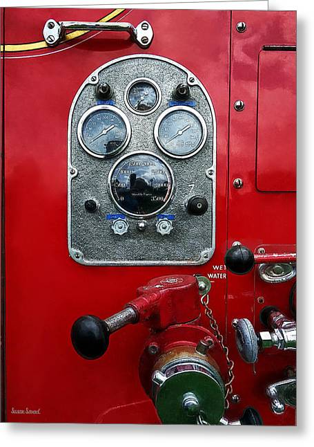 Fire Fighters Greeting Cards - Gauges on Vintage Fire Truck Greeting Card by Susan Savad