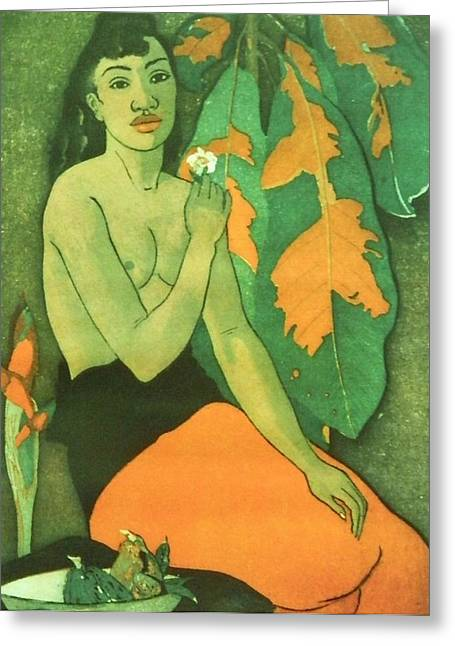 Maiden Mixed Media Greeting Cards - Gauguin Tribute - Laurel  3 Greeting Card by Gunter  Hortz