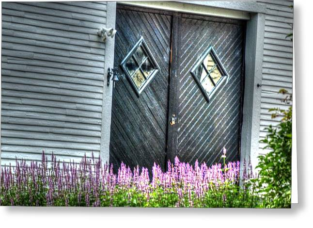 Old Maine Barns Greeting Cards - Guarding the door Greeting Card by Steve Coelho