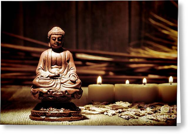 Gautama Buddha Greeting Card by Olivier Le Queinec
