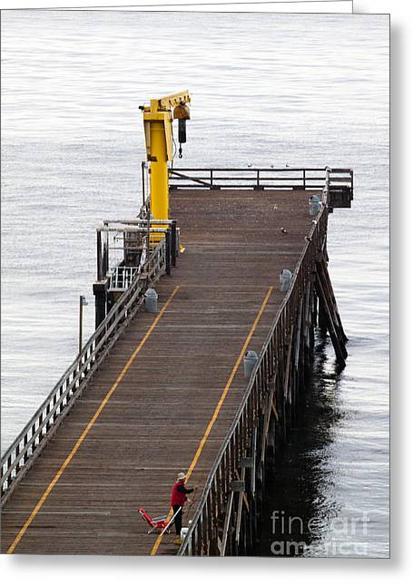 Gaviota Greeting Cards - Gaviota Pier Fisherman Greeting Card by John Daly