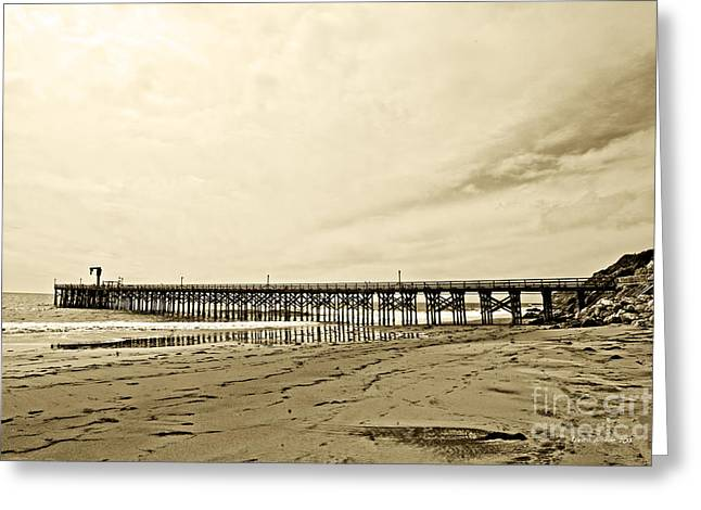 Poular Ocean Art Greeting Cards - Gaviota Pier in Morning Sepia Tone Greeting Card by Artist and Photographer Laura Wrede