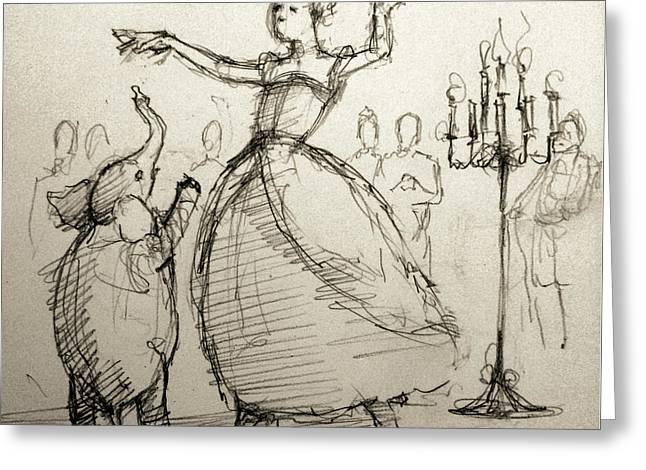 Ballet Dancers Drawings Greeting Cards - Gavotte Greeting Card by H James Hoff
