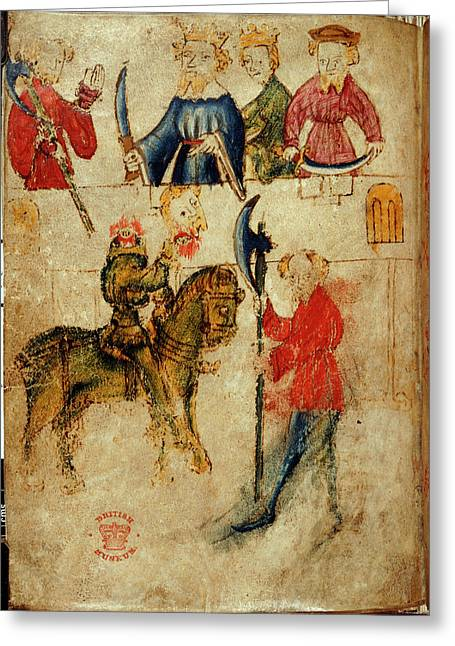 Gawain And The Green Knight Greeting Card by British Library
