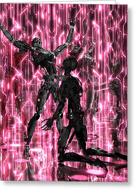Future Tech Paintings Greeting Cards - Queer Art GAY CYBERDUDES GET DOWN by Vykkurt tech geek sci-fi robots cyborgs disco Greeting Card by    Vykkurt
