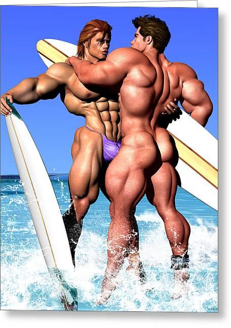 Surfer Art Greeting Cards - GAY SURFERS Art by Vykkurt queer lgbt surf surfing surfboard Greeting Card by    Vykkurt