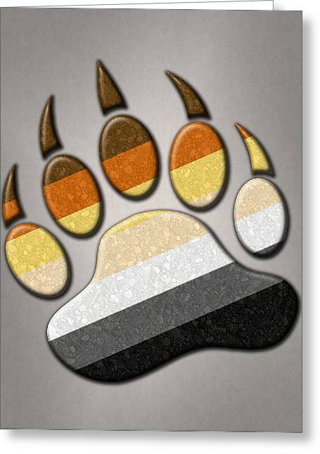 Homosexual Greeting Cards - Gay Bear Pride Paw Greeting Card by Tavia Starfire