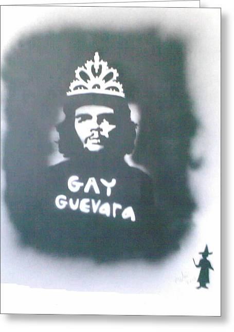 Tiara Paintings Greeting Cards - GAY-GUEVARA with his TIARA Greeting Card by Banksyno2