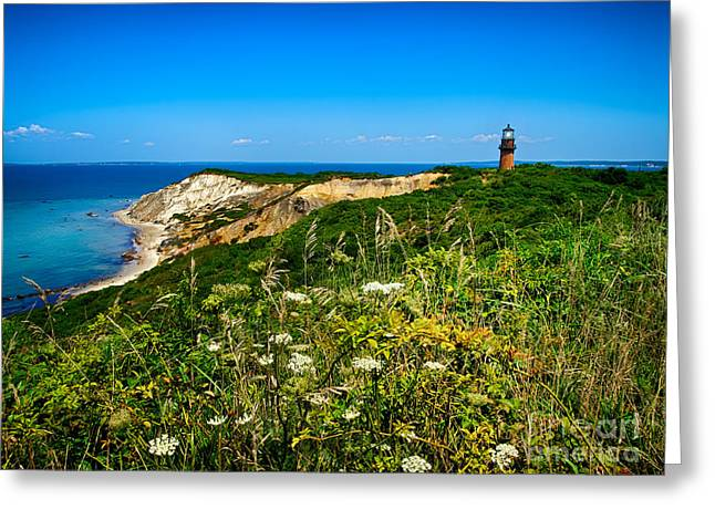 Recently Sold -  - New England Ocean Greeting Cards - Gay Head Light and Cliffs Greeting Card by Mark Miller