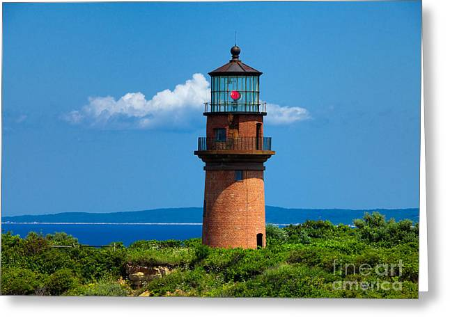 Blue Green Wave Greeting Cards - Gay Head Light Greeting Card by Mark Miller