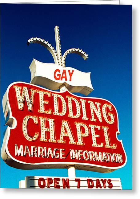 Wedding Chapel Greeting Cards - Gay Wedding Chapel Greeting Card by Matthew Bamberg