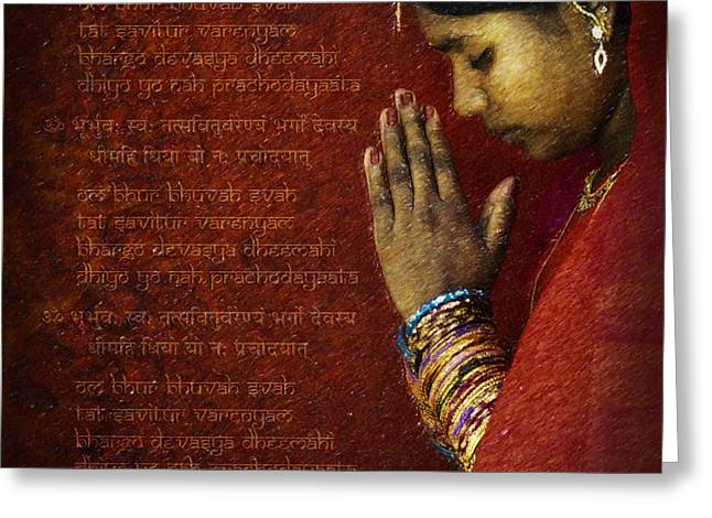 Gayatri Mantra Greeting Card by Tim Gainey